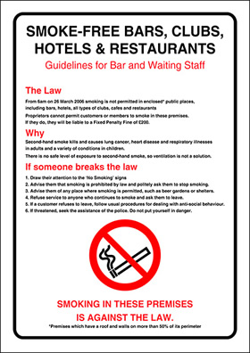 Smoking guidelines for bar and waiting staff sign.