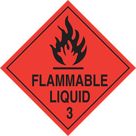 Flammable liquid 3 sign.