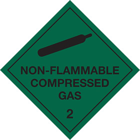 Non flammable compressed gas 2 sign.