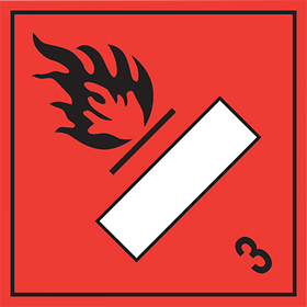 As da53 but rigid and magnetic Flammable symbol 3 sign.