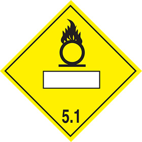 As da57 but rigid and magnetic Oxidising agent symbol 5.1 sign.