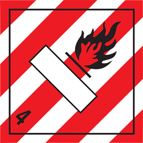 As da63 but rigid and magnetic Flammable red stripes 4 sign.