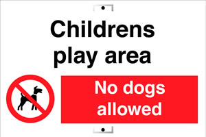 Childrens play area no dogs sign.