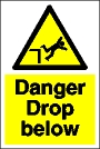 Danger drop below sign.