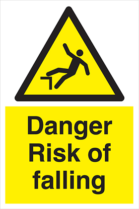 Danger risk of falling sign.