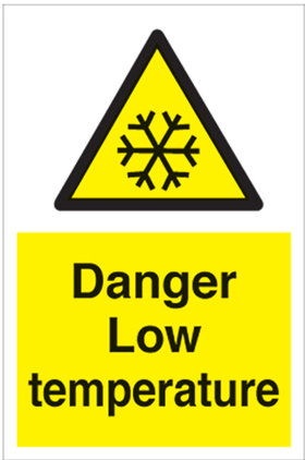 Danger low temperature sign.