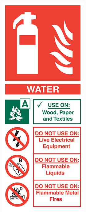 Fire extinguisher signs water fire extinguisher sign.