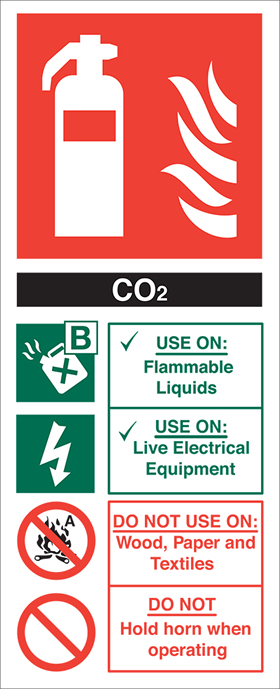 Fire extinguisher signs co2 fire extinguisher sign.