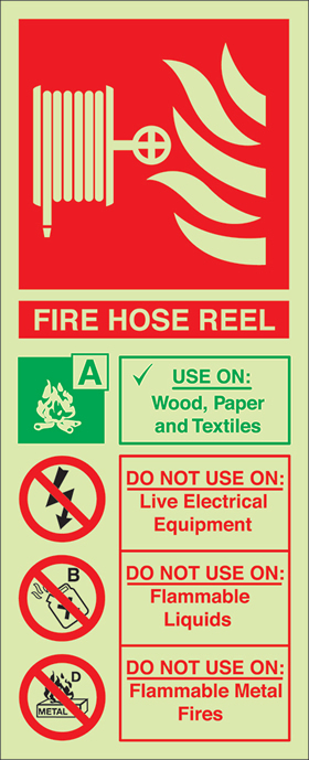 Fire hose reel sign.