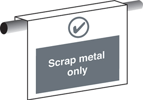 Scrap waste only sign.