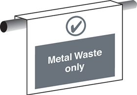 Metal waste only sign.