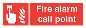 Fire alarm call point Button flames sign.