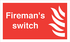 Firemans switch flame symbol sign.