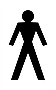 Male toilet signs.