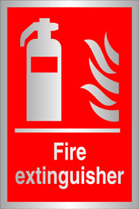 Fire extinquisher sign.