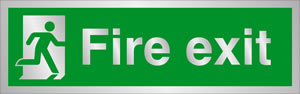 Fire exit man at door sign.