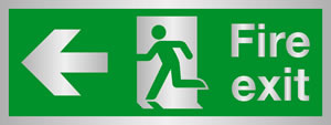 Fire exit man at door left arrow) Brass effect sign.