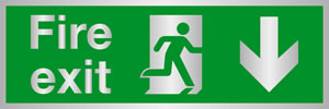 Fire exit man at door down arrow) brass effect sign.