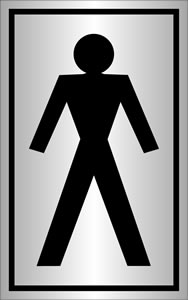 Toilet man symbol sign.