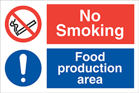 No smoking food production area ! sign.