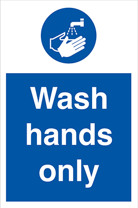 Wash hands only sign.
