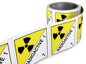 Radioactive 7 labels. 100 x 100mm self adhesive labels on roll of 250 labels. sign.