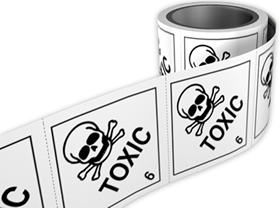 Toxic 6 labels. 100 x 100mm self adhesive labels on roll of 250 labels. sign.
