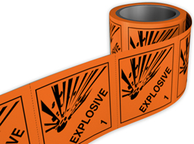 Explosive 1 labels. 100 x 100mm self adhesive labels on roll of 250 labels. sign.