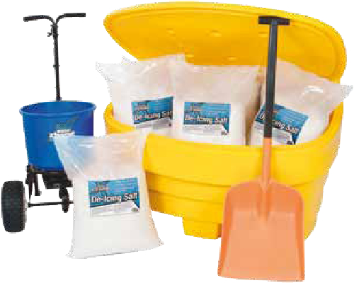 Essential items to ensure your car park is kept safe this winter. Use 7 bags of rock grit to fill the grit bin and the remaining 3 bags for use with the spreader.