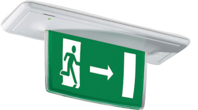 With down arrow : sign is permanently illuminated and has a 3 hour battery back up in case of mains failure. sign.