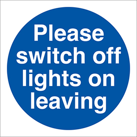 Please switch off lights on leaving signs.