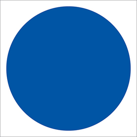 Blue fire door circle : blank only - no text sign.