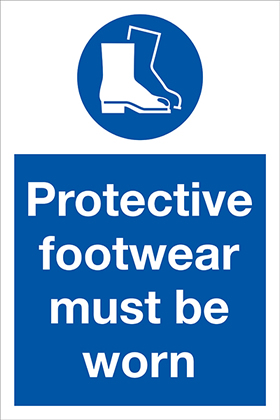 Protective footwear must be worn sign.