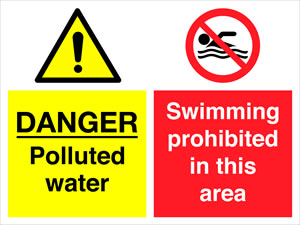 Danger polluted water :swimming prohibited in this area sign.