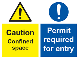 Caution confined space/permit required for entry sign.