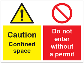 Caution confined space/do not enter without a permit sign.