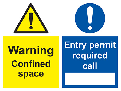 Caution confined space/entry permit required call sign.