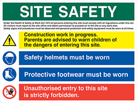 Site safety board - construction work in progress safety hemlets must be worn protective foot wear must be worn unauthorised entry forbidden sign.
