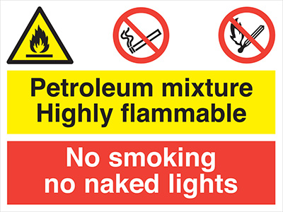 Lpg highly flammable no smoking no naked lights sign.