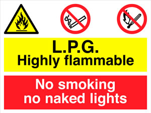 Petroleum spirit highly flammable no smoking no naked lights sign.