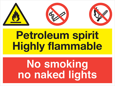 Flammable vapoour mno smoking no naked lights sign.