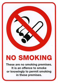 No smoking law sign (see nosmoke3) for public places in self adhesive vinyl sign.