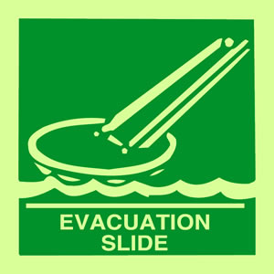 Evacuation slide sign.