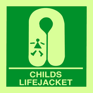Childs life jacket sign.