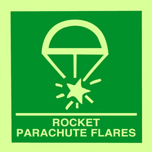 Rocket parachute flares sign.