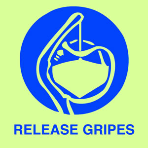 Release gripes sign.
