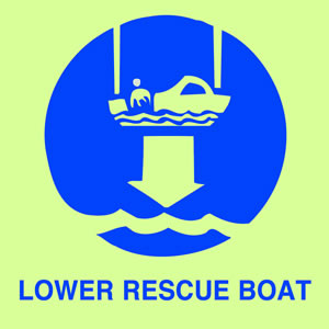 Lower rescue boat sign.