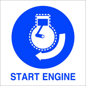 I.m.o start engine sign.
