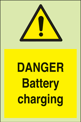 Danger battery charging + symbol sign.