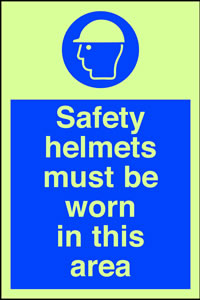 Safety helmets must be worn in this are sign.